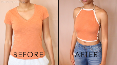DIY lace up halter top before and after front