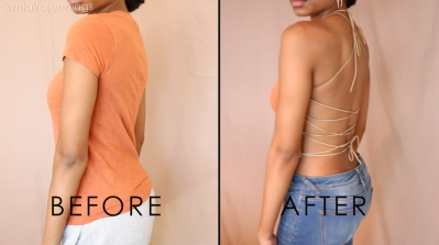 DIY lace up halter top before and after back