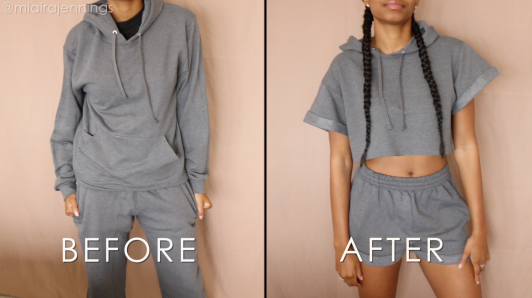 DIY Crop Top Hoodie Shorts Set No Sewing - Before and After