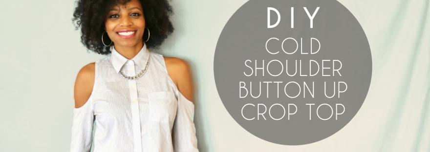 DIY cold shoulder button up crop top no sewing