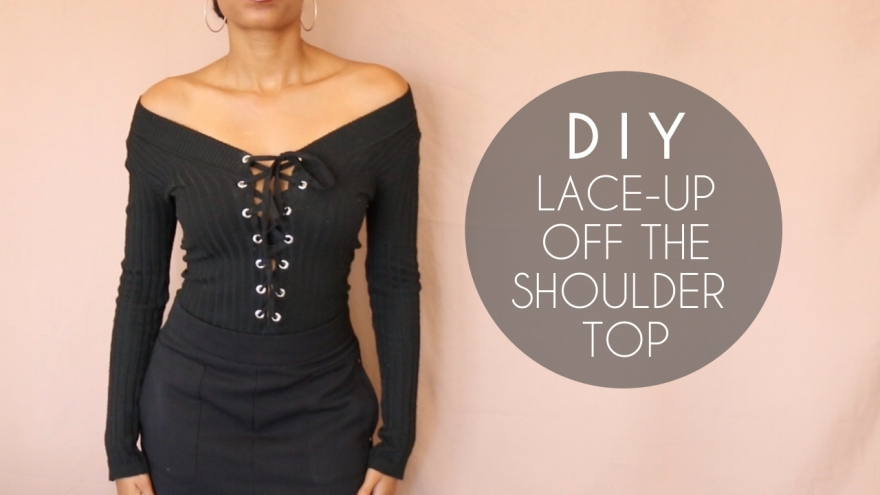 DIY lace up off the shoulder top