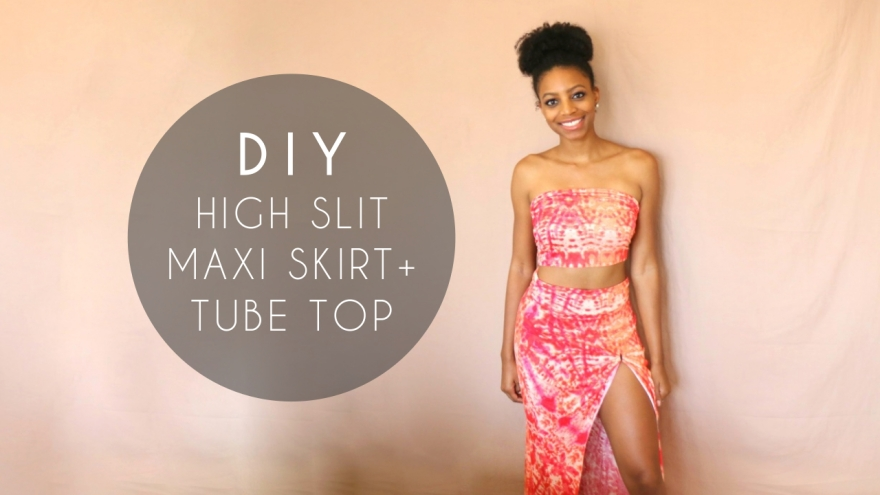 DIY High Slit Maxi Skirt tube top no sewing