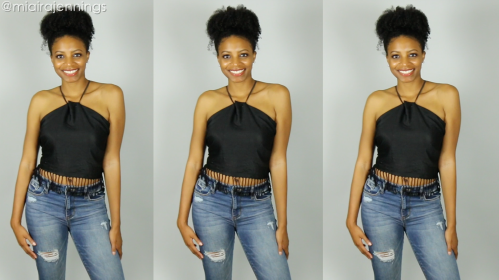 diy tie back fringe halter top no sewing