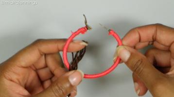 fold string diy tassel hoop earrings